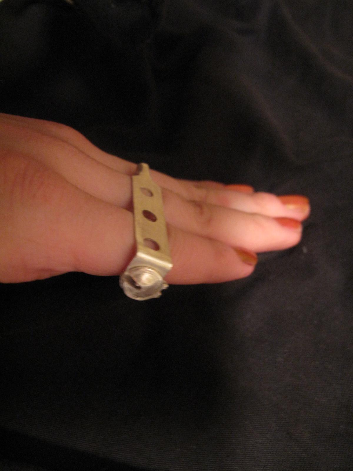 Pinned Finger Ring modeled Sterling Silver Spring 2012